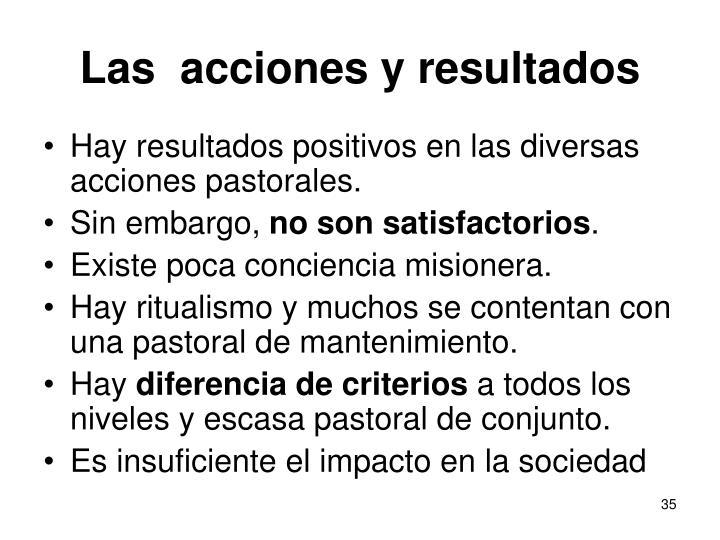 Las  acciones y resultados
