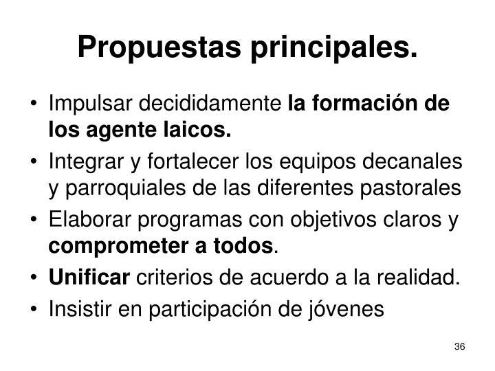 Propuestas principales.