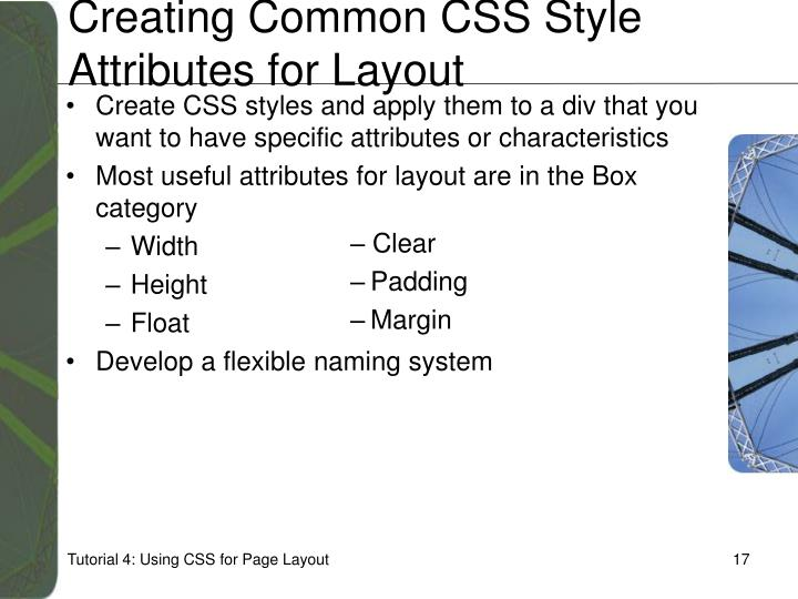 Creating Common CSS Style Attributes for Layout