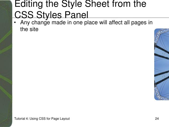 Editing the Style Sheet from the CSS Styles Panel