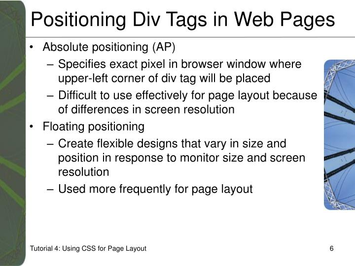 Positioning Div Tags in Web Pages