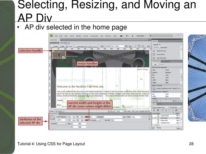 Selecting, Resizing, and Moving an AP Div