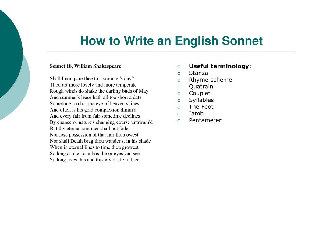 what is the rhyme scheme of sonnet 18