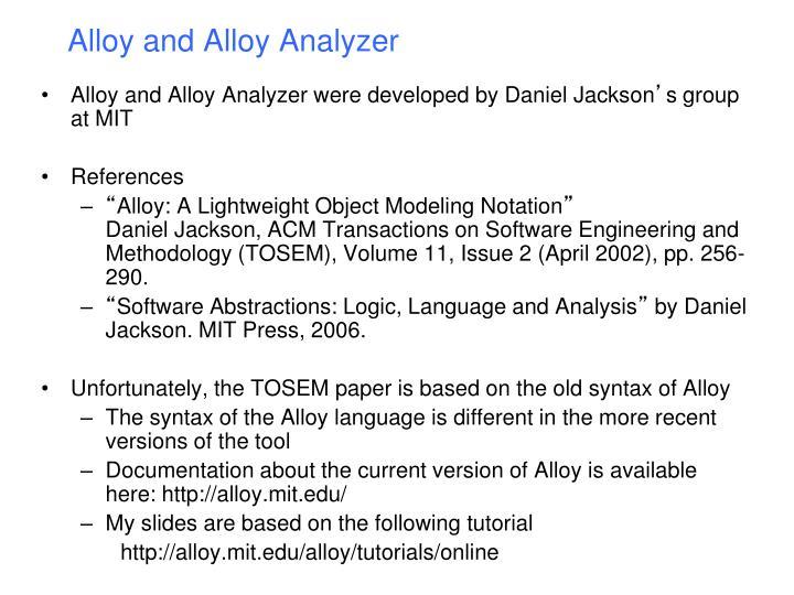Alloy and Alloy Analyzer