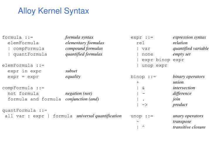 Alloy Kernel Syntax