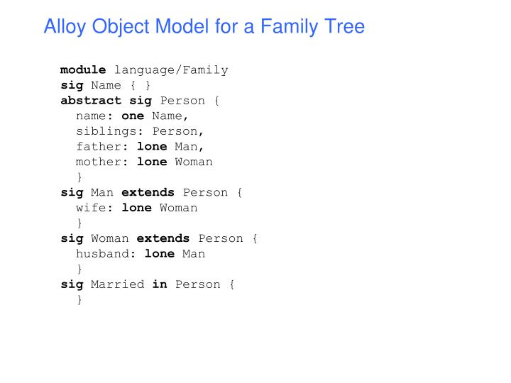 Alloy Object Model for a Family Tree