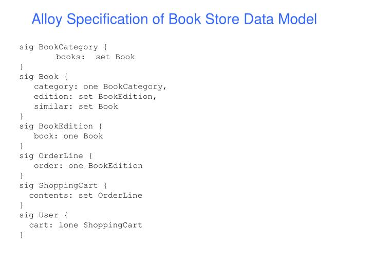 Alloy Specification of Book Store Data Model