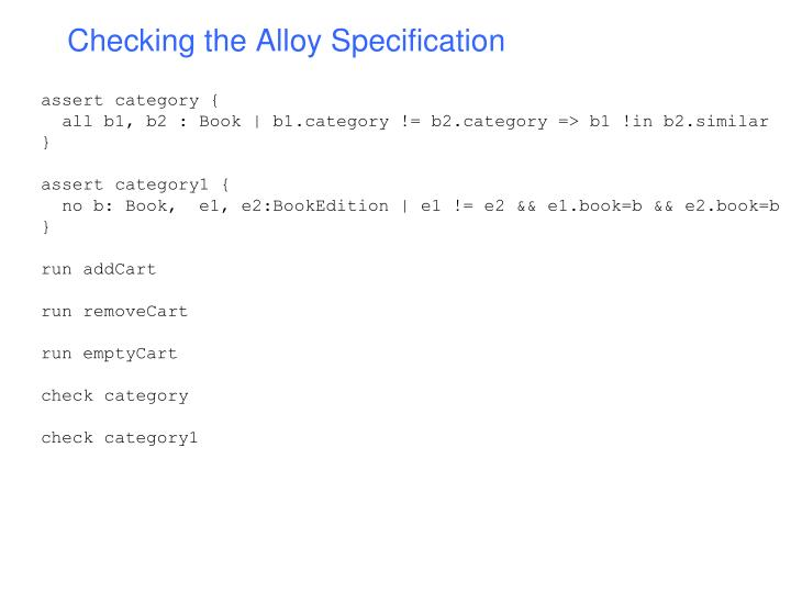 Checking the Alloy Specification
