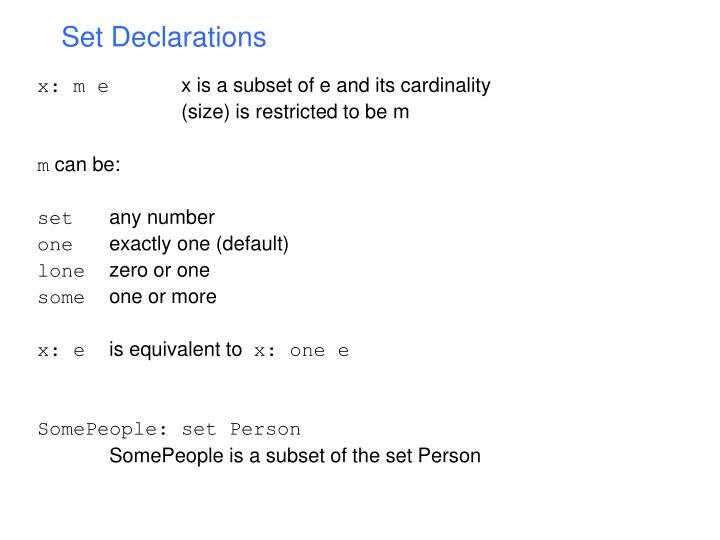 Set Declarations