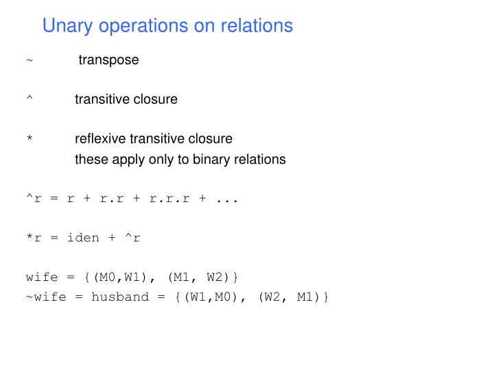 Unary operations on relations