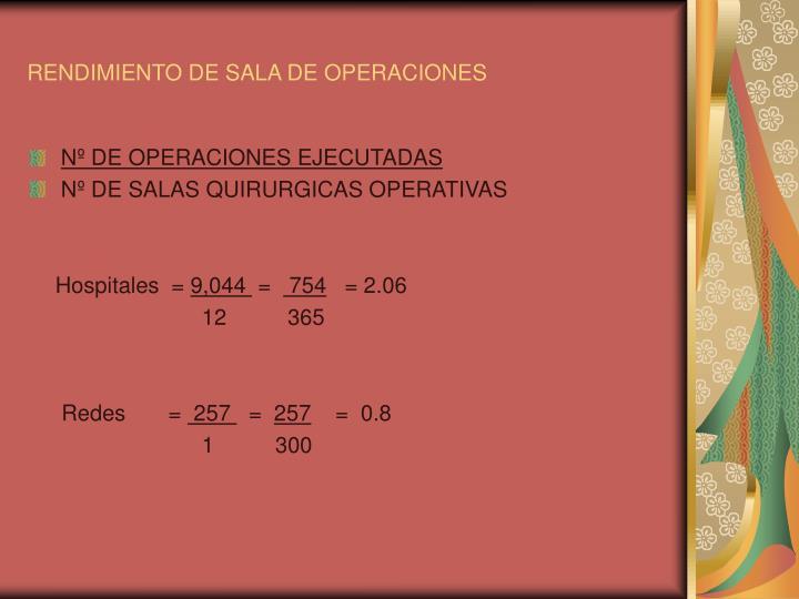 RENDIMIENTO DE SALA DE OPERACIONES