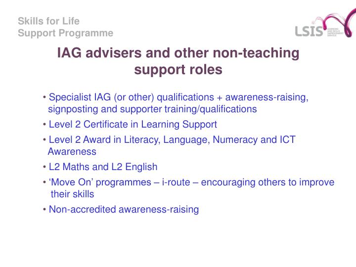 IAG advisers and other non-teaching