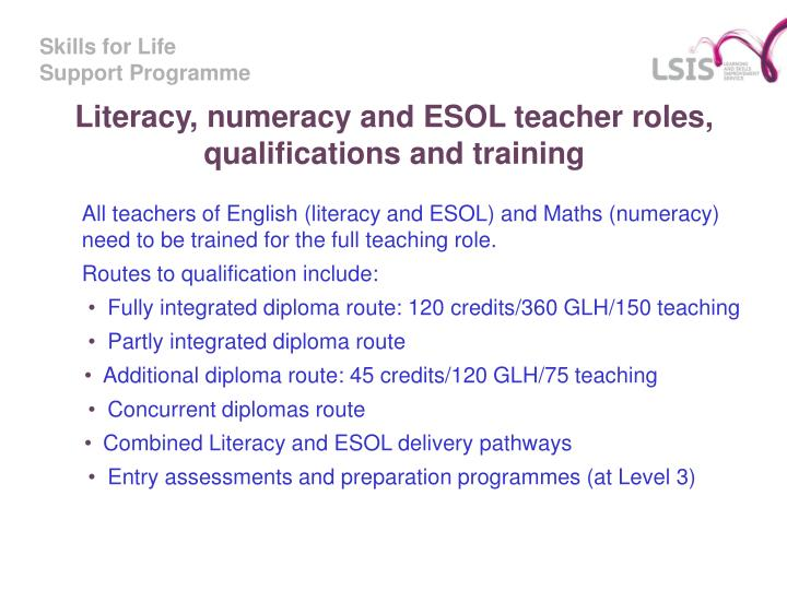 Literacy, numeracy and ESOL teacher roles, qualifications and training