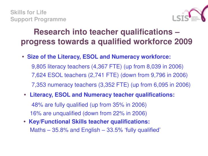 Research into teacher qualifications – progress