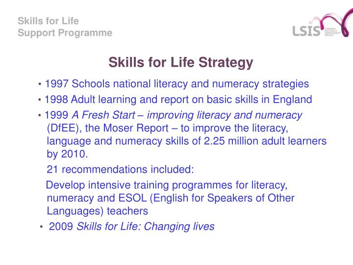 Skills for life strategy