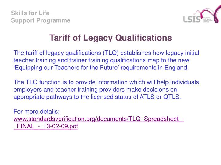 Tariff of Legacy Qualifications