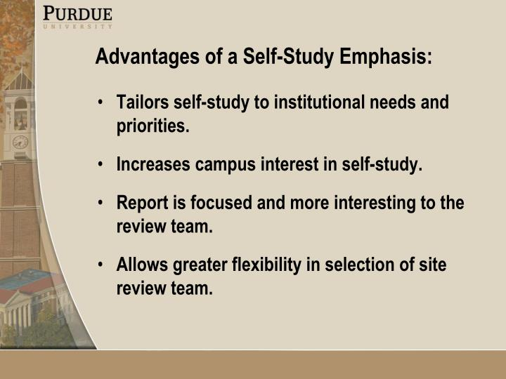 Tailors self-study to institutional needs and priorities.