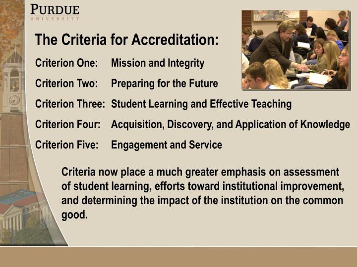 The Criteria for Accreditation: