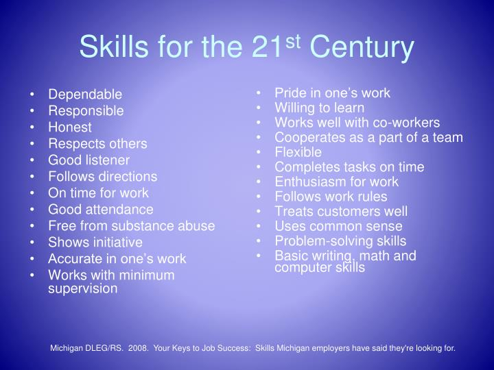 Skills for the 21