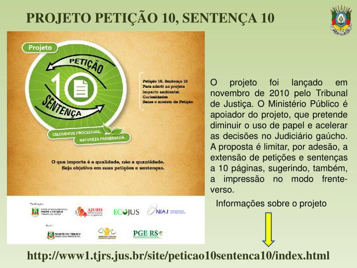 PROJETO PETIÇÃO 10, SENTENÇA 10