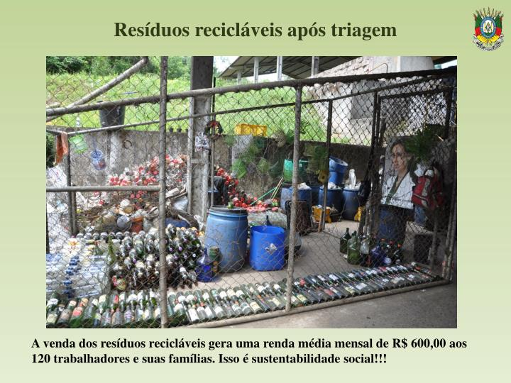 Resíduos recicláveis após triagem