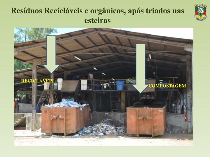 Resíduos Recicláveis e orgânicos, após triados nas esteiras
