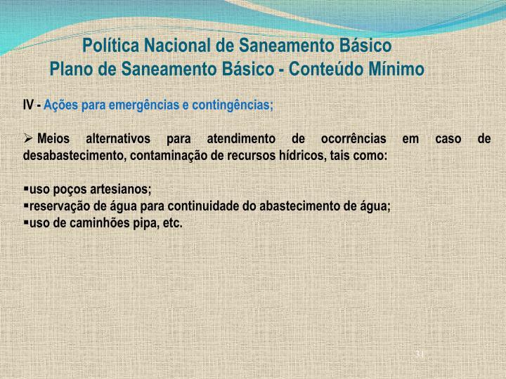 Política Nacional de Saneamento Básico