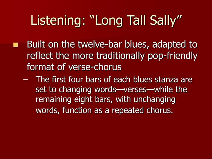 "Listening: ""Long Tall Sally"""
