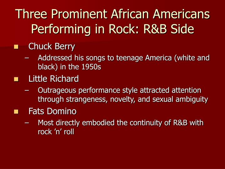 Three prominent african americans performing in rock r b side
