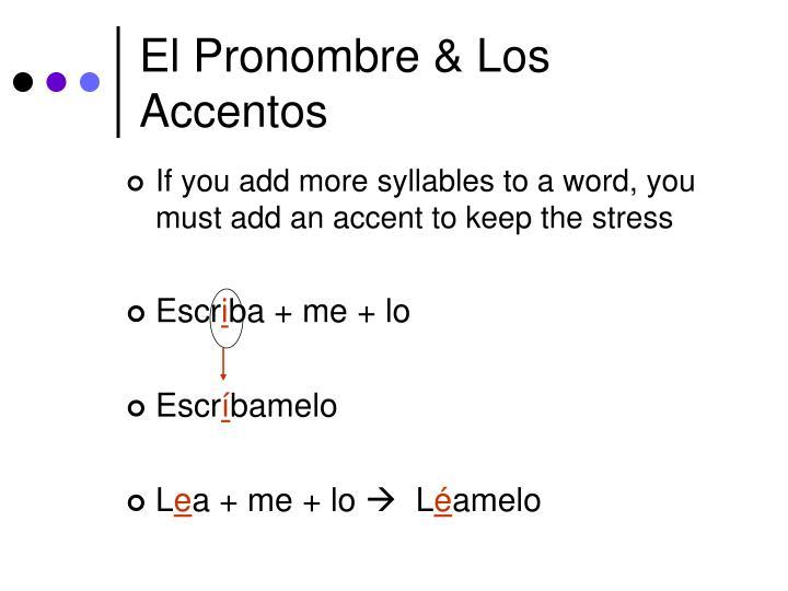El Pronombre & Los Accentos