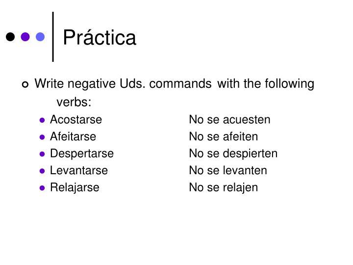 Write negative Uds. commands