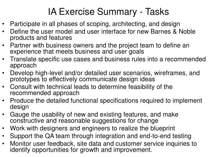 IA Exercise Summary - Tasks