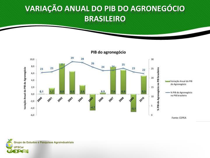 Varia o anual do pib do agroneg cio brasileiro