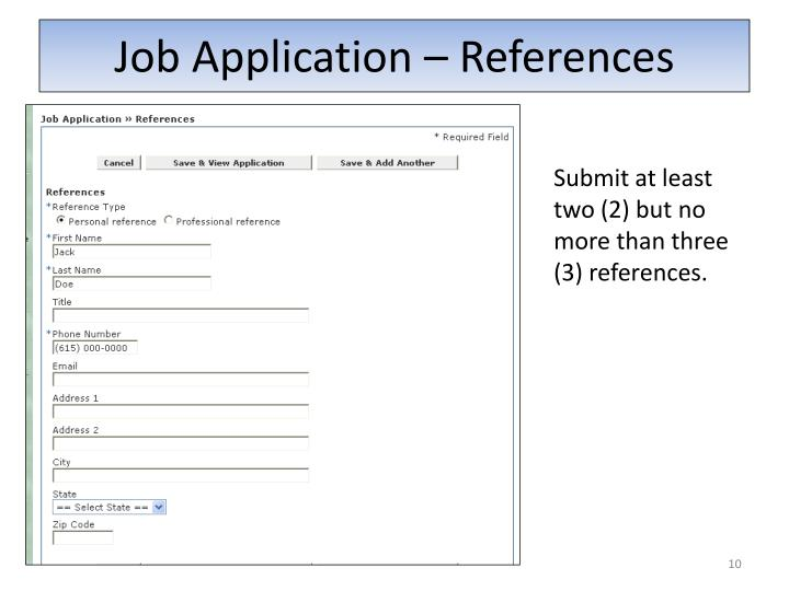 job application references