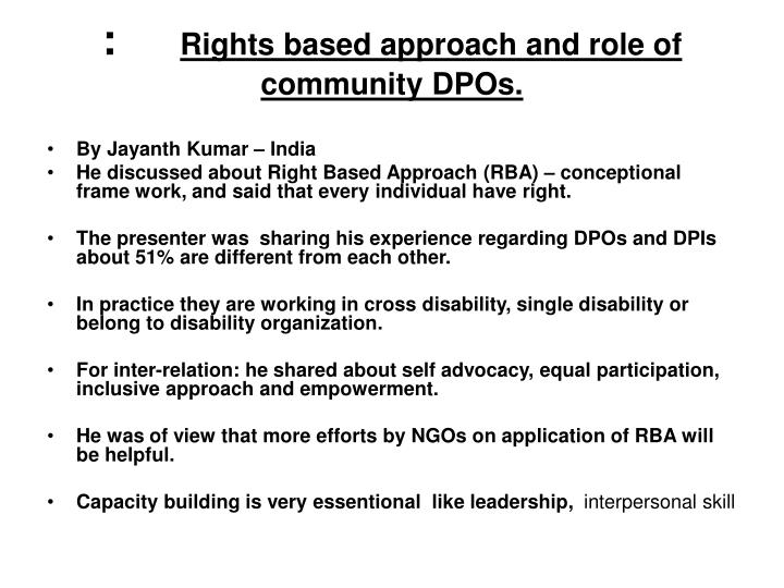 Rights based approach and role of community dpos