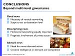 conclusions beyond multi level governance