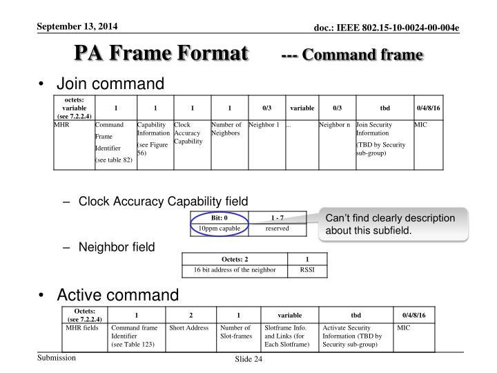 PA Frame Format