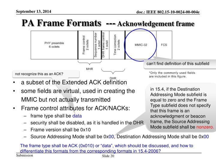 PA Frame Formats  ---
