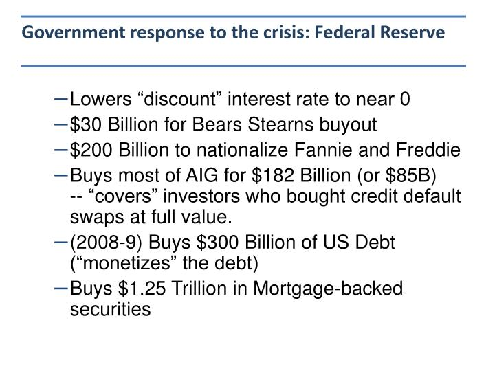 Government response to the crisis: Federal Reserve
