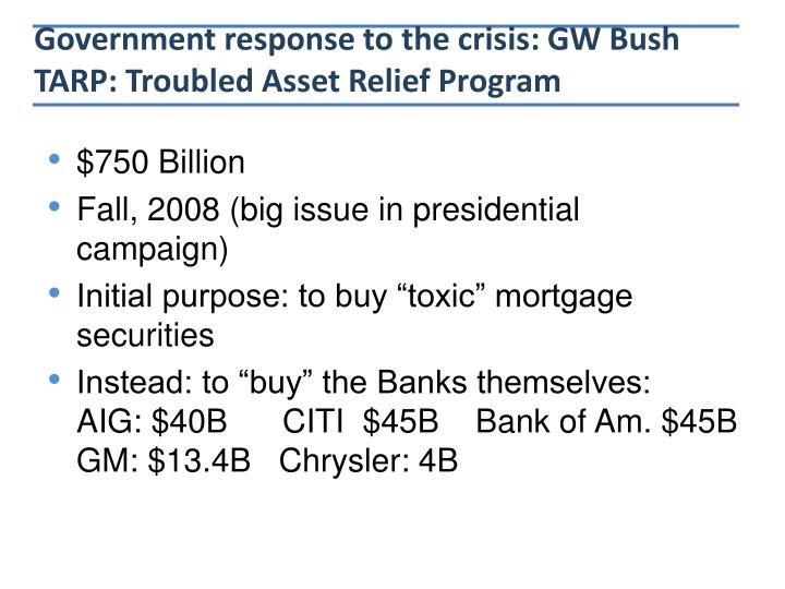 Government response to the crisis