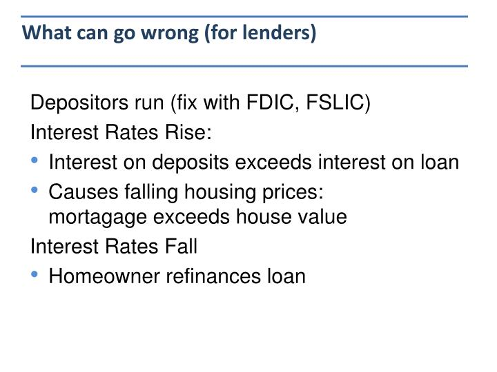 What can go wrong (for lenders)