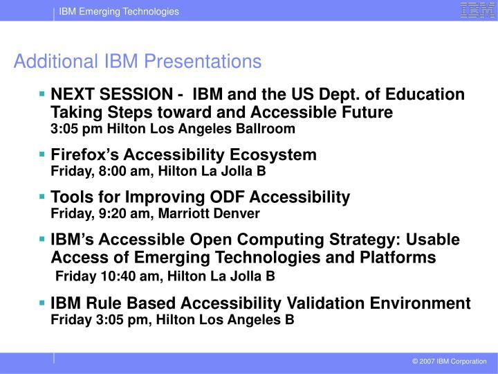 Additional IBM Presentations