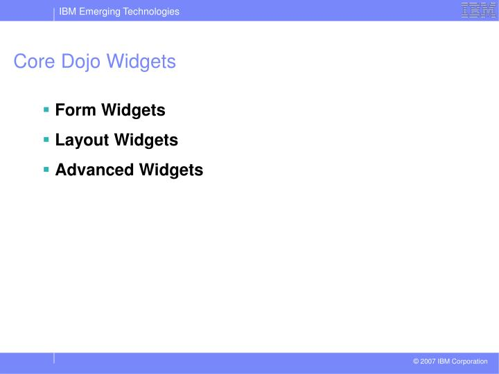 Core Dojo Widgets