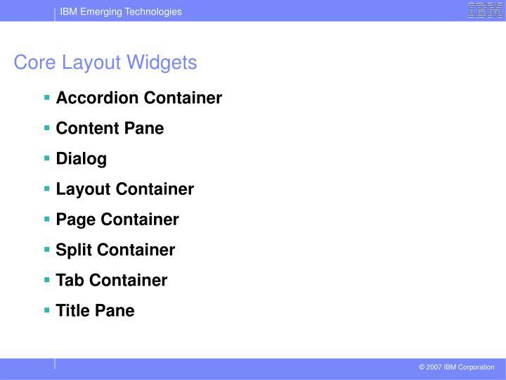 Core Layout Widgets