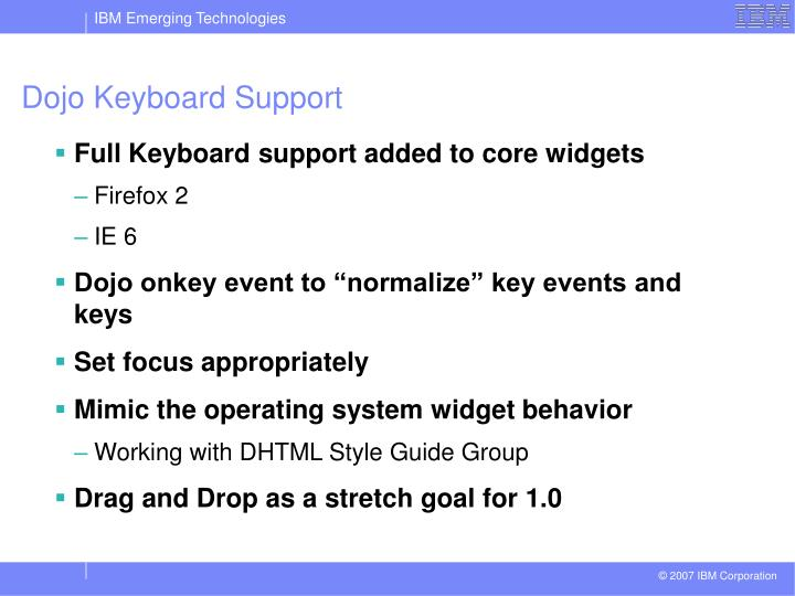 Dojo Keyboard Support