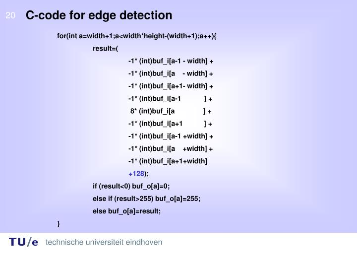 C-code for edge detection