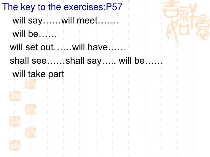 The key to the exercises:P57