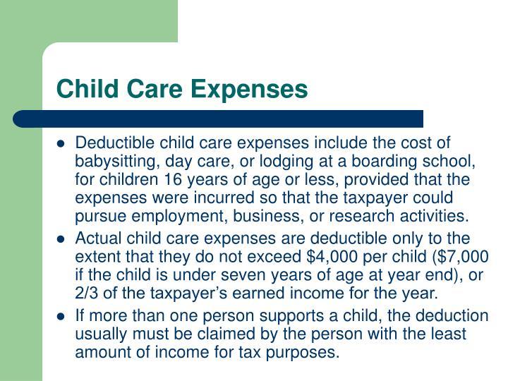 Child Care Expenses