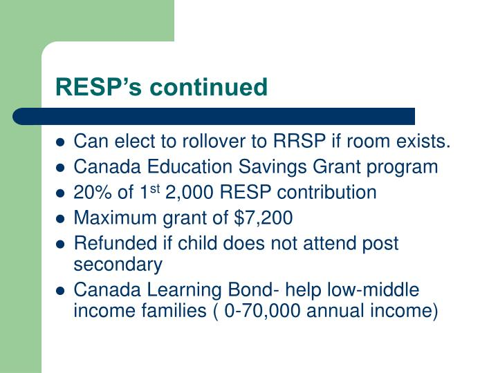 RESP's continued