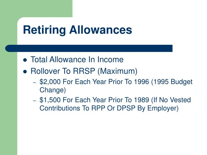 Retiring Allowances
